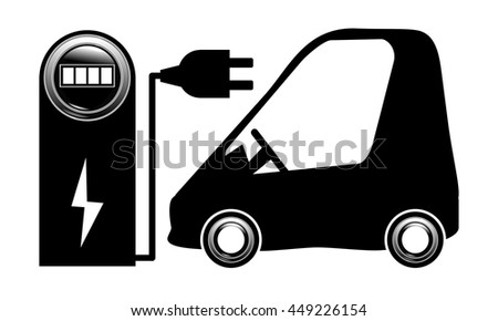 electric car near a charging station vector EPS 10 electrical plug black on white background - stock vector