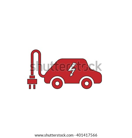 Electric Car Red Flat Simple Modern Stock Vector 401417566 ...