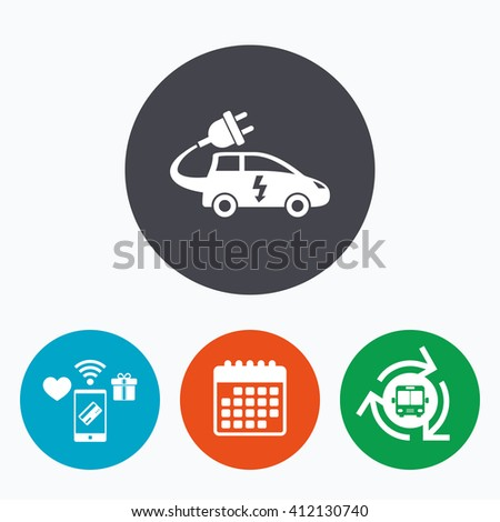 Electric car sign icon. Hatchback symbol. Electric vehicle transport. Mobile payments, calendar and wifi icons. Bus shuttle. - stock vector