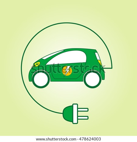 Electric car symbol with flash on back door. Ecology car  concept. Vector