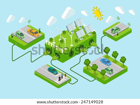 Electric cars flat 3d web isometric alternative eco green energy lifestyle infographic concept vector. Road platforms, sun battery, wind turbine, power cords. Ecology power consumption collection. - stock vector