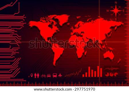 electric digital map vector - stock vector