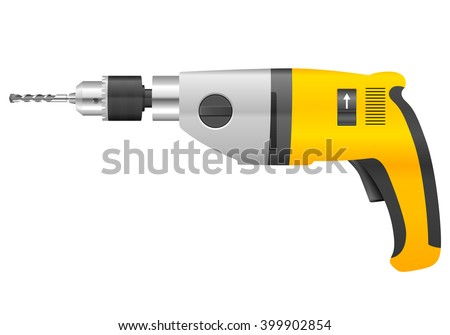 Electric drill and bit on a white background. - stock vector