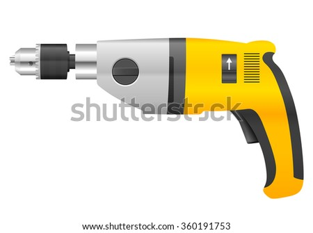 Electric drill on a white background.