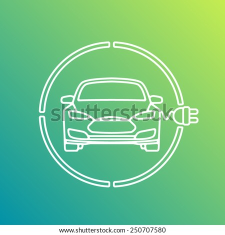Electric Eco Car Charging Station Icon - stock vector