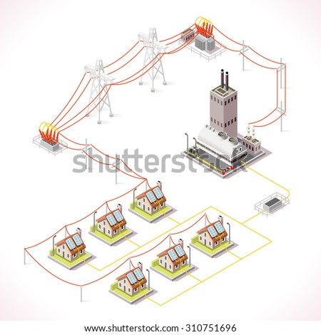 Electric Energy Power Factory Distribution Chain Stock Vector ...