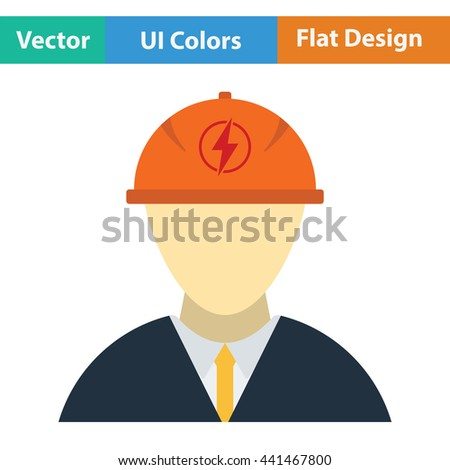 Electric engineer icon. Flat color design. Vector illustration. - stock vector