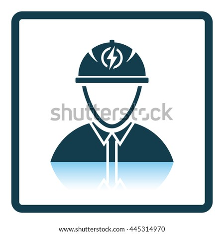 Electric engineer icon. Shadow reflection design. Vector illustration. - stock vector