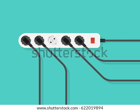 electric extension cord flat style vector