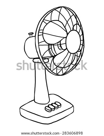 Electric Fan Cartoon Vector And Illustration Black And