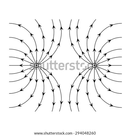 Electric field near two equal positive charges vector  - stock vector