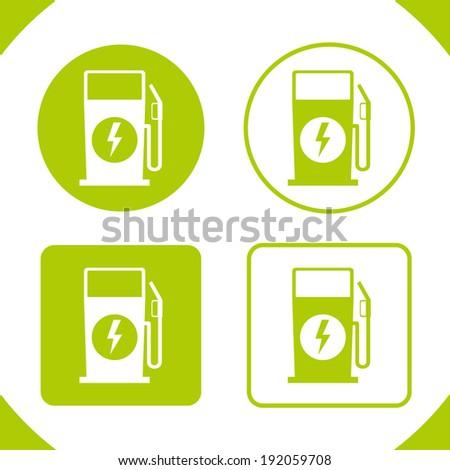 Electric Fuel Pump Recharging Badges - stock vector