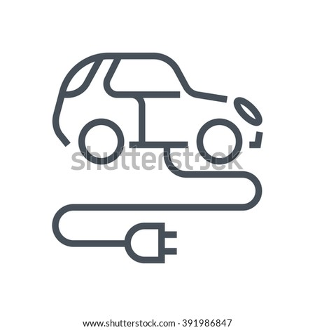 Electric, green energy car icon suitable for info graphics, websites and print media and  interfaces. Line vector icon.