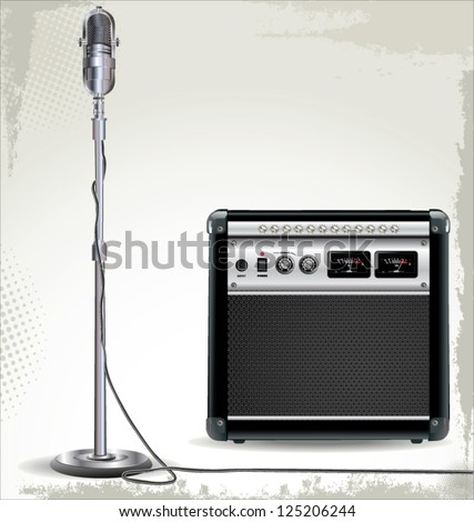 Electric guitar amplifier and retro microphone background - stock vector