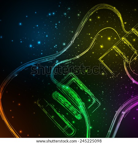Electric Guitar cover, you can easy all editable - stock vector