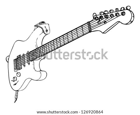 Electric Guitar - drawn - stock vector