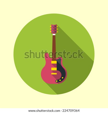 Electric guitar icon. Flat design long shadow. Vector illustration.