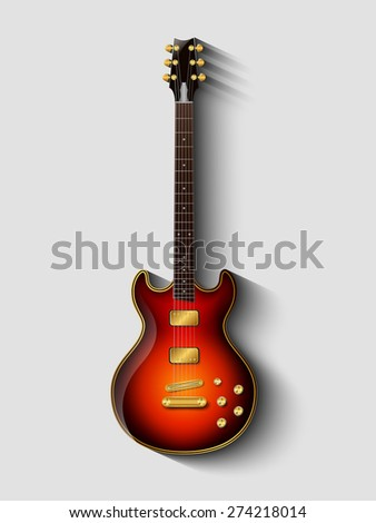 electric guitar isolated light and shadow vector gold classic