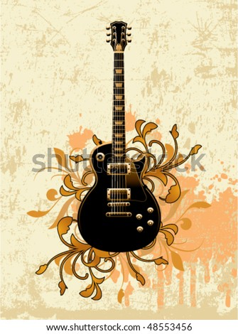 Electric guitar on a dirty floral background - stock vector