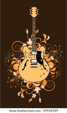 Electric guitar on a floral background