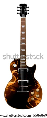 electric guitar on a white background - stock vector