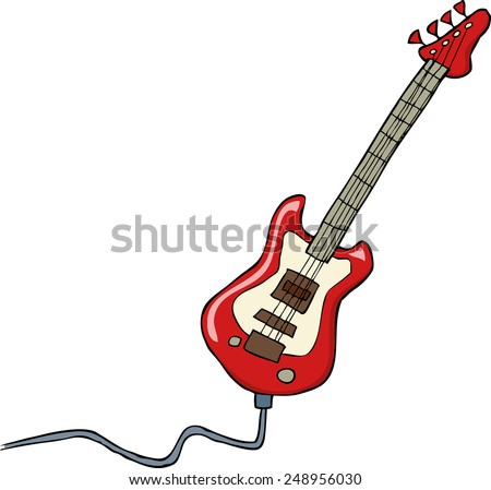 Electric guitar on a white background vector illustration - stock vector