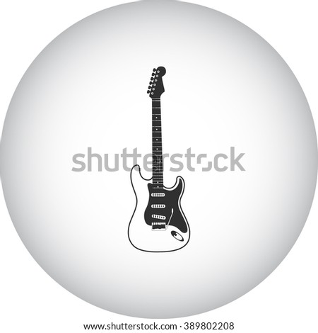 Electric guitar simple icon on colorful round background - stock vector