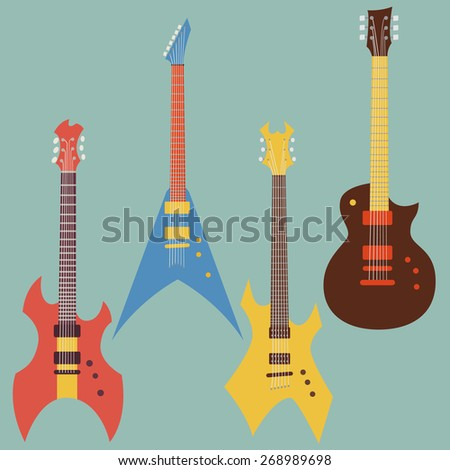 electric guitars set. flat style vector illustration