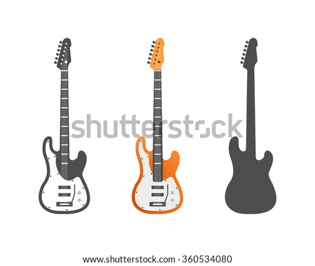 Electric guitars vector icons set. Music symbols isolated on white background. Use as icons, elements for logo design, badges. Vector illustration. In 3 styles - Color, grey, silhouette.