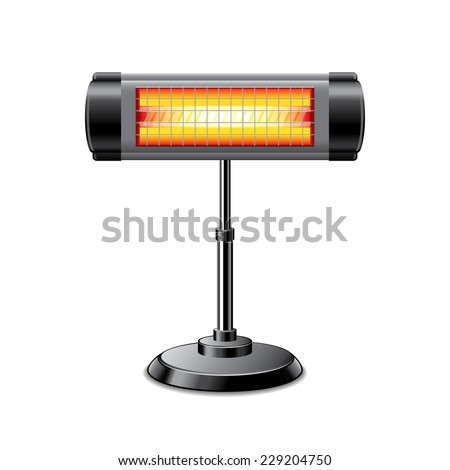 Electric heater isolated on white photo-realistic vector illustration - stock vector