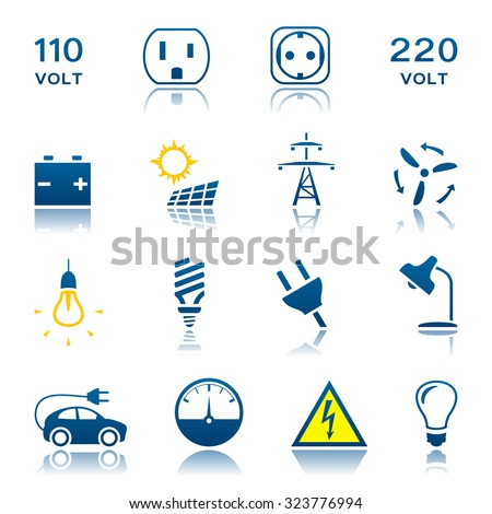 Electric icon set - stock vector