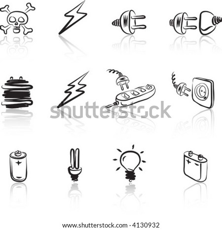 Electric 1 icon set Black & White