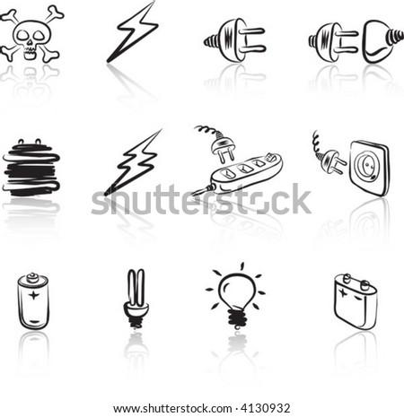 Electric 1 icon set Black & White - stock vector