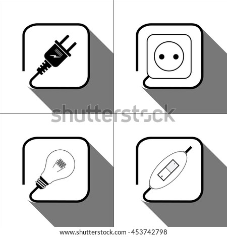 Electric icon. Socket , lamp, switch, electric plug, power icon.  Vector - stock vector