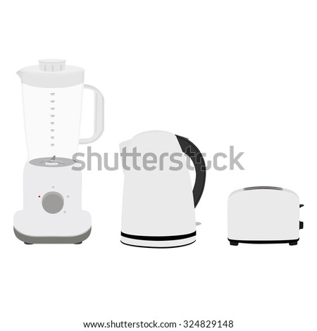 Electric kettle, blender and bread toaster vector illustration. White kettle, mixer and toaster icon. Kitchen equipment. - stock vector