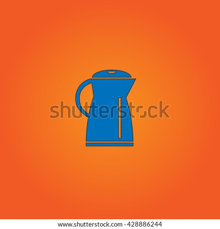 Electric kettle. Blue flat icon with black stroke on orange background. Collection concept vector pictogram for infographic project and logo
