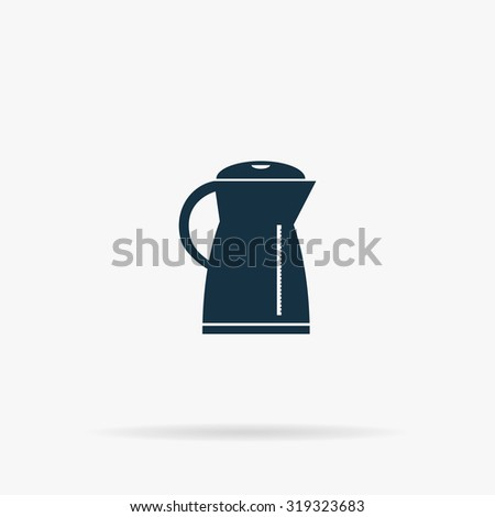 Electric kettle. Flat vector web icon or sign on grey background with shadow. Collection modern trend concept design style illustration symbol