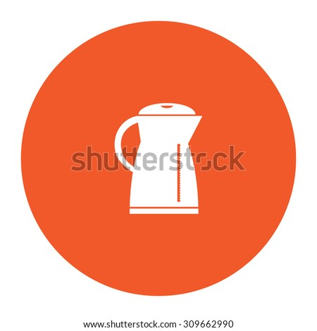 Electric kettle. Flat white symbol in the orange circle. Vector illustration icon