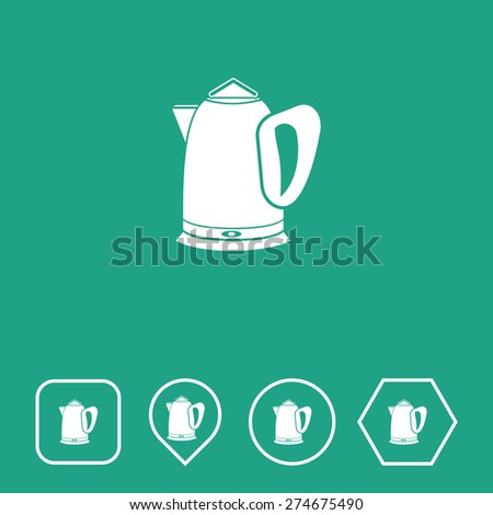Electric Kettle Icon on Flat UI Colors with Different Shapes. Eps-10. - stock vector