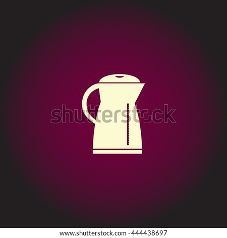 Electric kettle. White vector icon on dark background. Flat pictogram