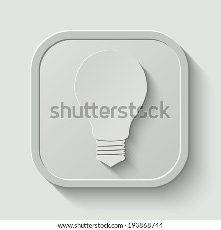 Electric lamp icon -  paper button with shadow on light background - stock vector