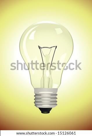 Electric lamp on yellow background. Vector illustration