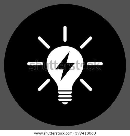 Electric Light Bulb vector icon. Image style is a flat icon symbol on a round button, black and white colors, gray background. - stock vector