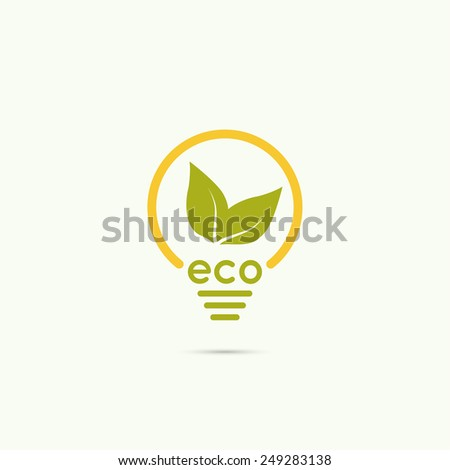 Electric light bulb with green leaves. green eco energy concept.