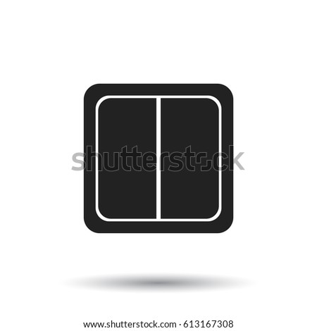Electric Light Switch Icon Flat Vector Illustration On White Background