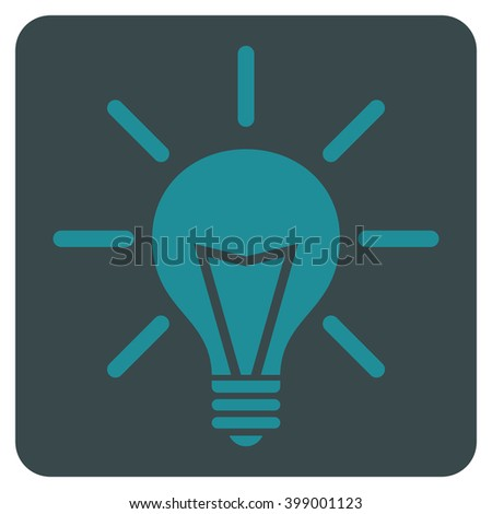 Electric Light vector symbol. Image style is bicolor flat electric light iconic symbol drawn on a rounded square with soft blue colors.