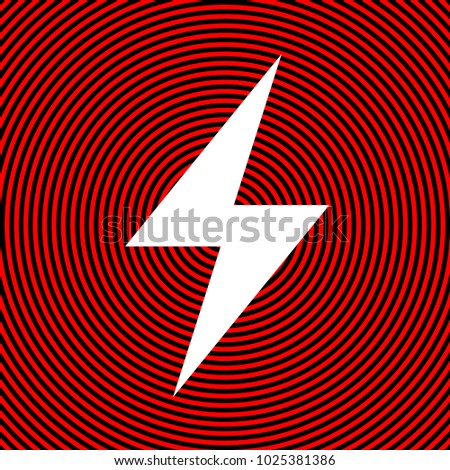 Electric Lighting Bolt Icon Flash Vector White On Red And Black Radial