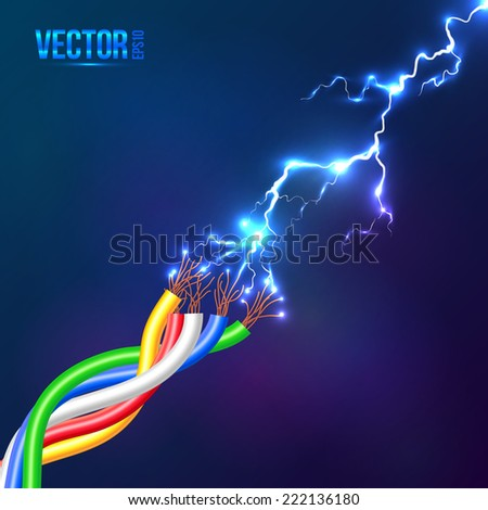 Electric lightning flash to vector colored cables - stock vector