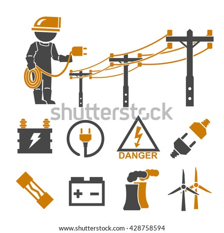electric man icons set - stock vector