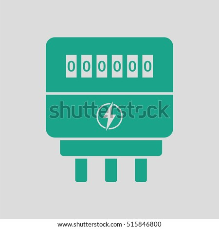 Electric meter icon. Gray background with green. Vector illustration.